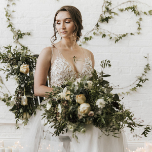 Wild Bridal Bouquet and Greenery Backdrop