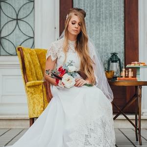 Bride in Vintage Lace Dress with Vintage Details