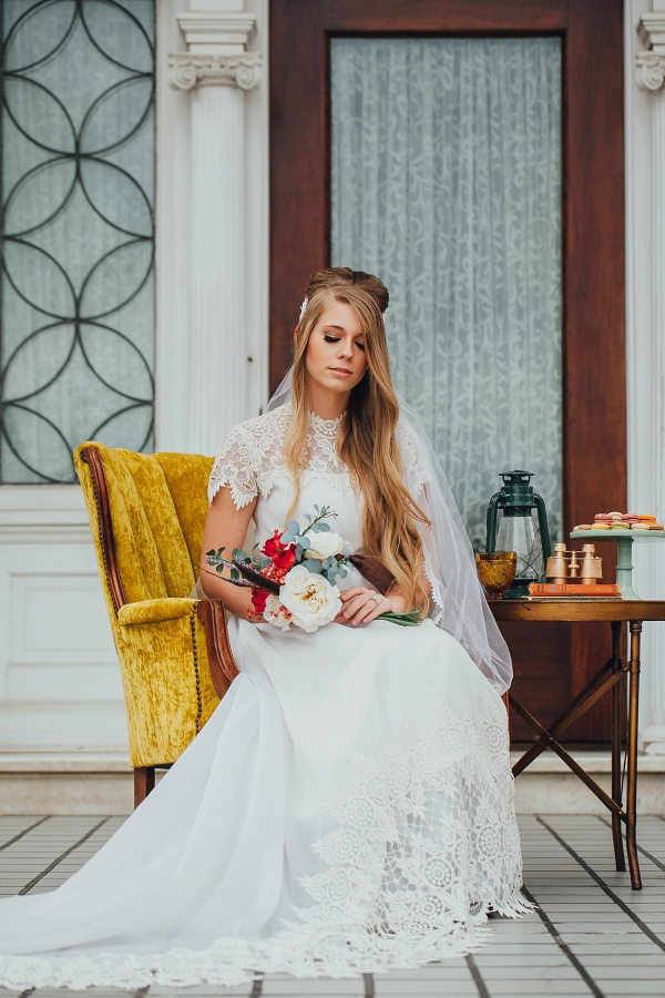 Wes anderson styled bridal portraits aisle society for Vintage wedding dresses fort worth