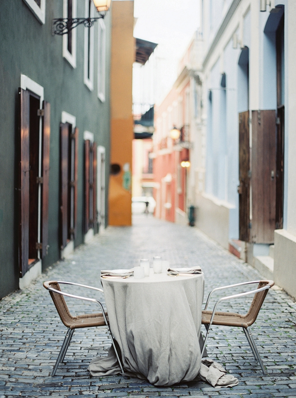 A Set Table on the Streets of Old San Juan in Puerto Rico