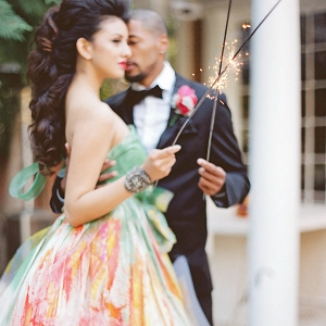 A Bride and Groom with Sparklers