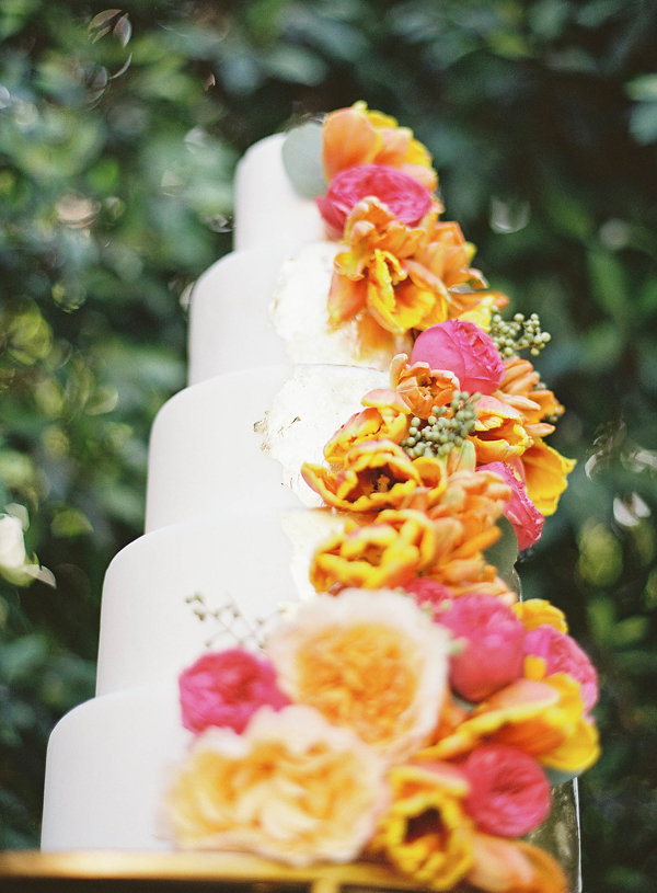 Five Layer White and Gold Wedding Cake with Flowers