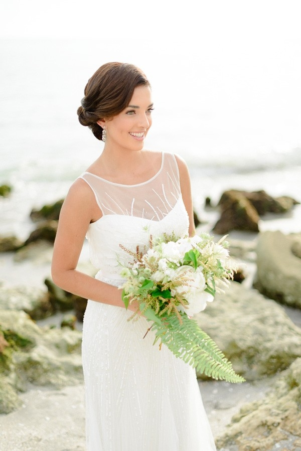 Elegant Beach Bride With Organic Bouquet | Rustic White Photography
