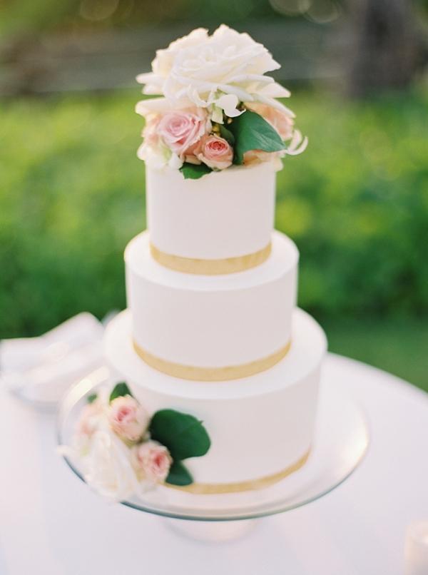 White Three Layer Wedding Cake