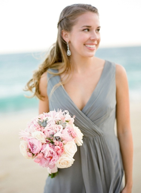 Bridesmaid in Grey with Pink Bouquet