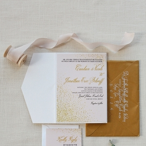 A Pink and Gold Wedding Invitation