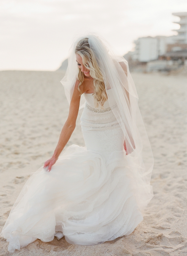 A Bride in a Strapless Wedding Dress