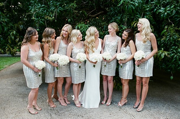 Bride and Bridesmaids in Silver Dresses