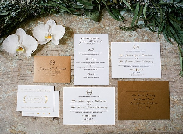 White and Gold Metallic Invitation Suite