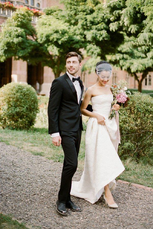 Bride and Groom Walking By