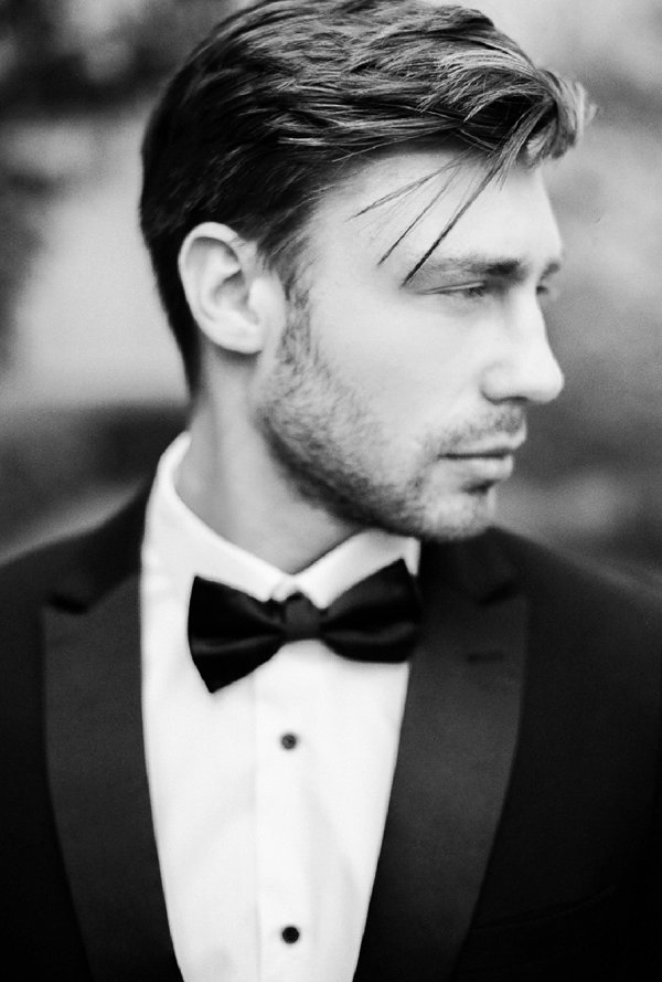 Black and White Picture of a Groom