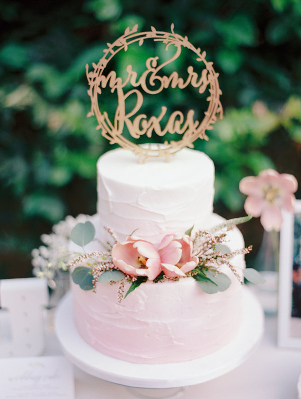 Blush Pink Wedding Cake with Gold Cake Topper