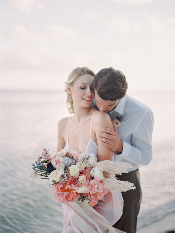 A Bride and Groom Embracing