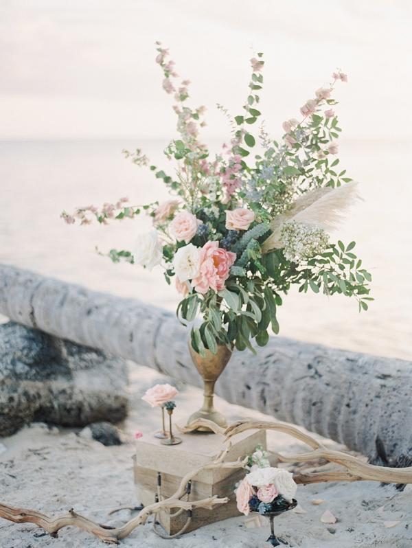 Pink Floral Arrangements in Gold Vessels