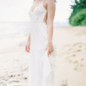 A Bride-to-be in a White Bohemian Dress