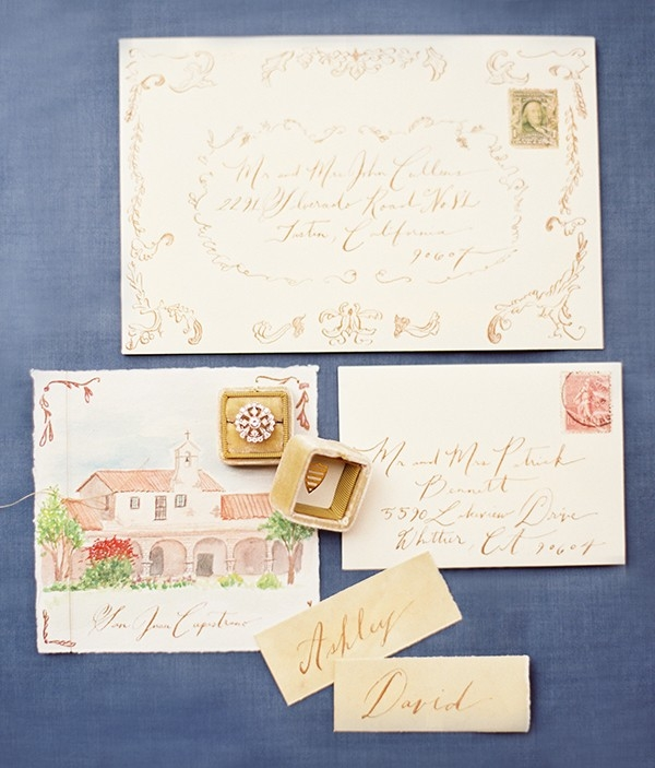 Calligraphy Invitation Suite with Escort Cards and Wedding Ring