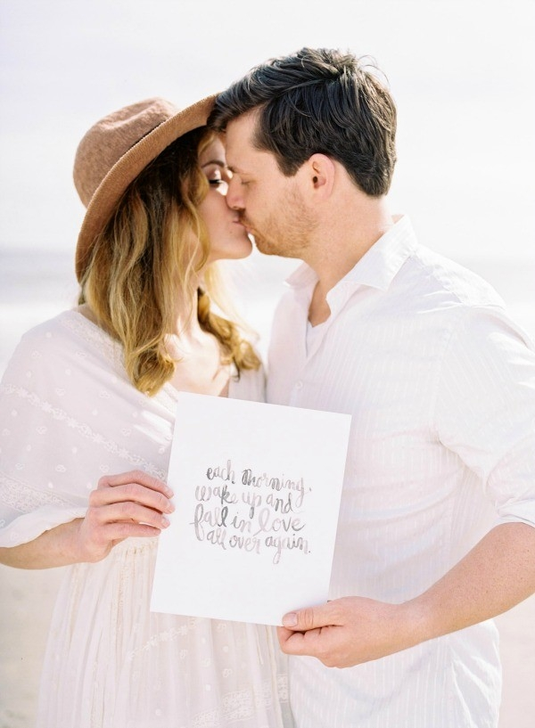 Bride and Groom with Calligraphy Sign