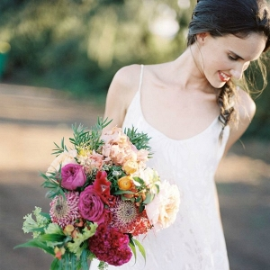 Bride with Colorful, Tropical Bouquet