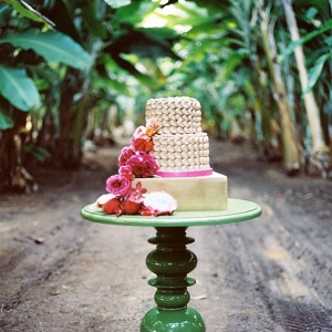 Gold Wedding Cake On Green Cake Table