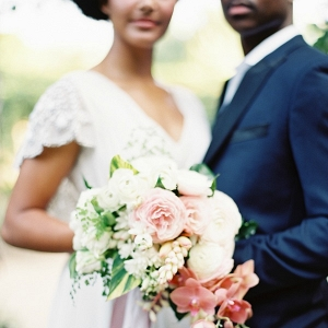 Bride and Groom with Tropical Bouquet