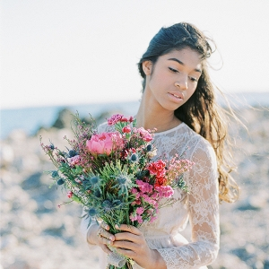 Bride with Colorful Bouquet on the Beach