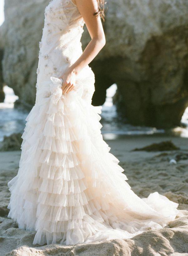 Bride in Layered Wedding Dress