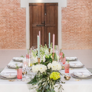 Pink and mint tablescape