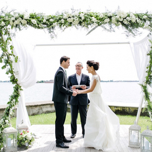 Modern greenery ceremony arch