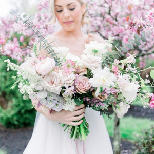 Lush white and blush bridal bouquet