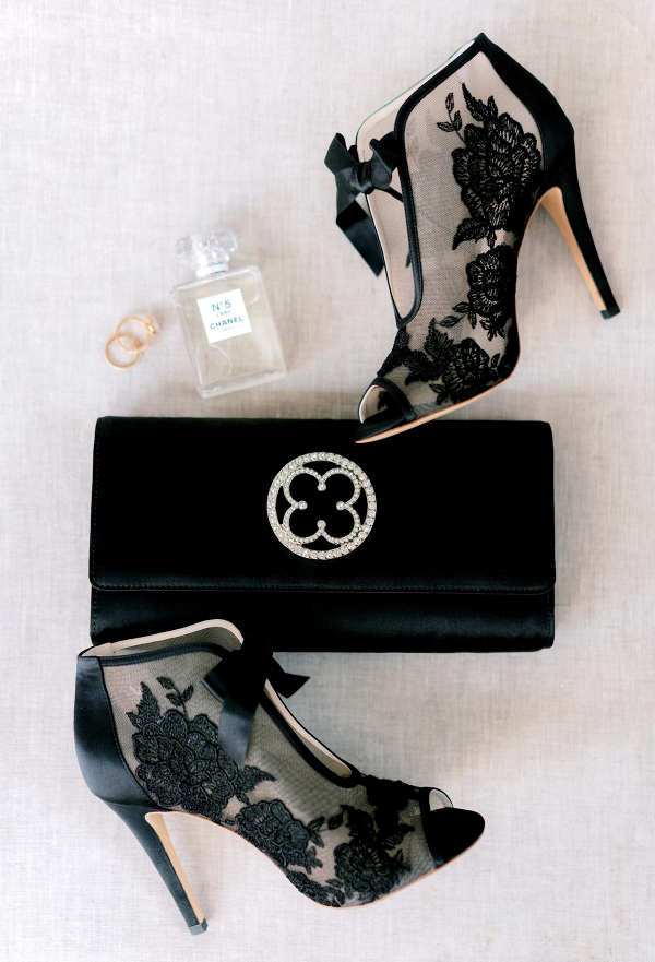 Black wedding shoes and bridal purse - The Mrs Clutch
