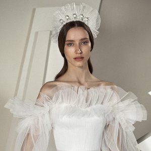 Ruffled wedding dress by Alon Livné