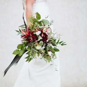 Deep Red and Green Wedding Bouquet