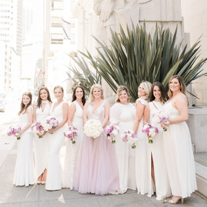 Long white mismatched bridesmaid dresses