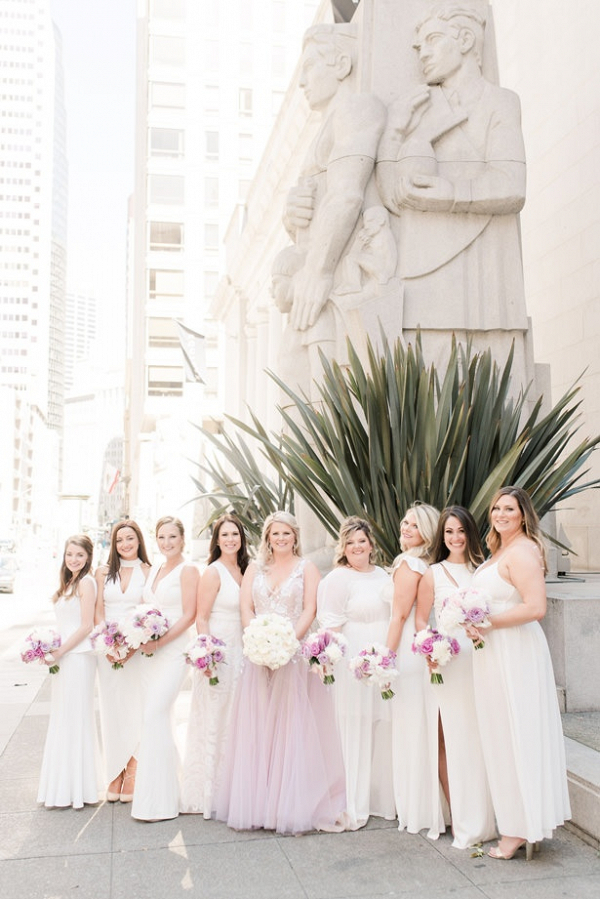Long white mismatched bridesmaid dresses