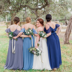 Long blue bridesmaid dresses