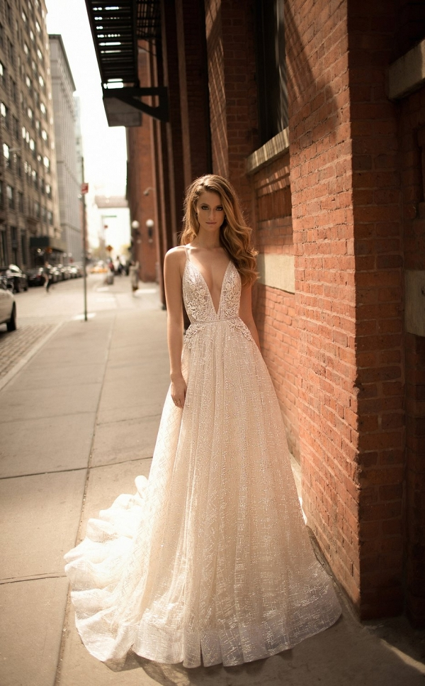 V neck A line wedding dress on Belle the Magazine