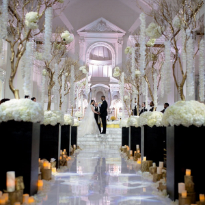 Glam black and white wedding ceremony