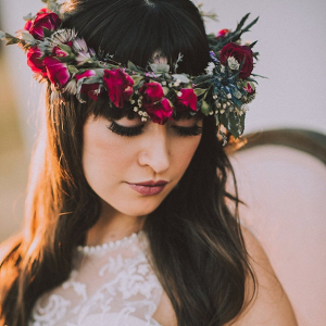 Bohemian Bride with floral crown on Belle the Magazine