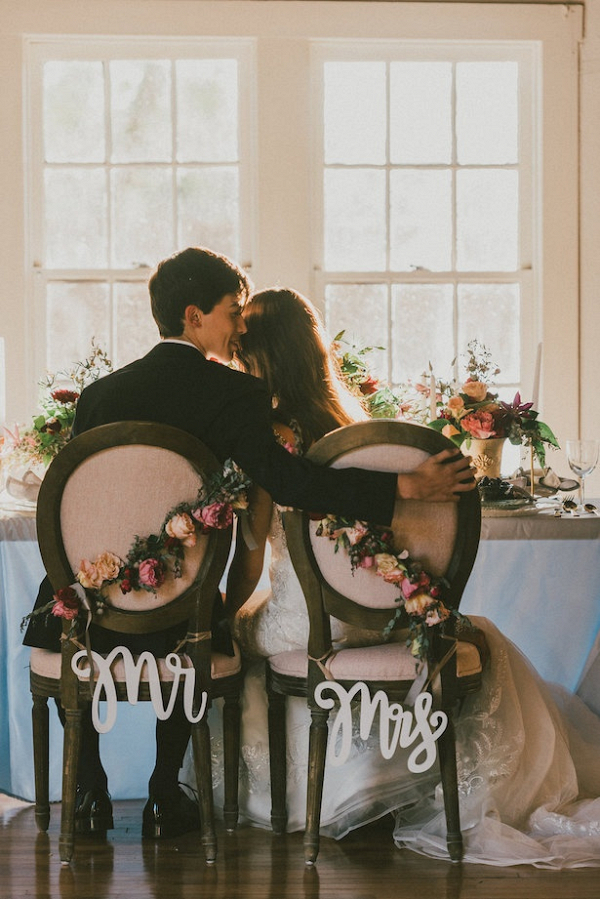 elegant Mr and Mrs chairs on Belle the Magazine