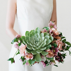 Modern succulent bridal bouquet