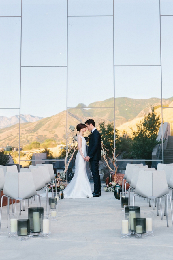 Modern desert wedding ceremony