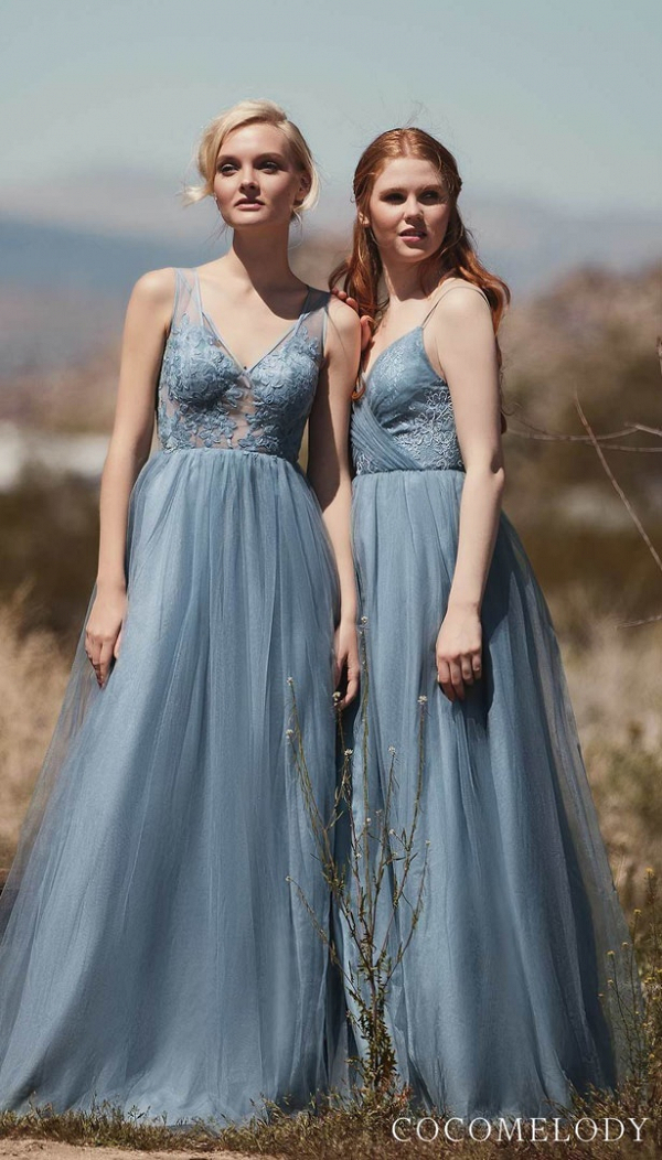 Blue lace and tulle bridesmaids dresses