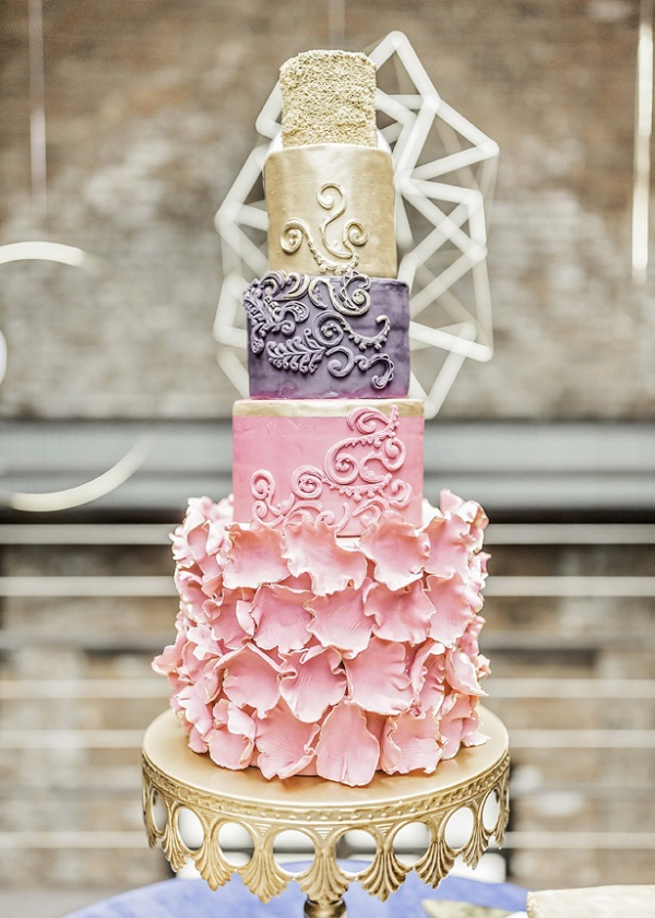 Glam gold pink and purple wedding cake