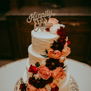 Burgundy and coral wedding cake