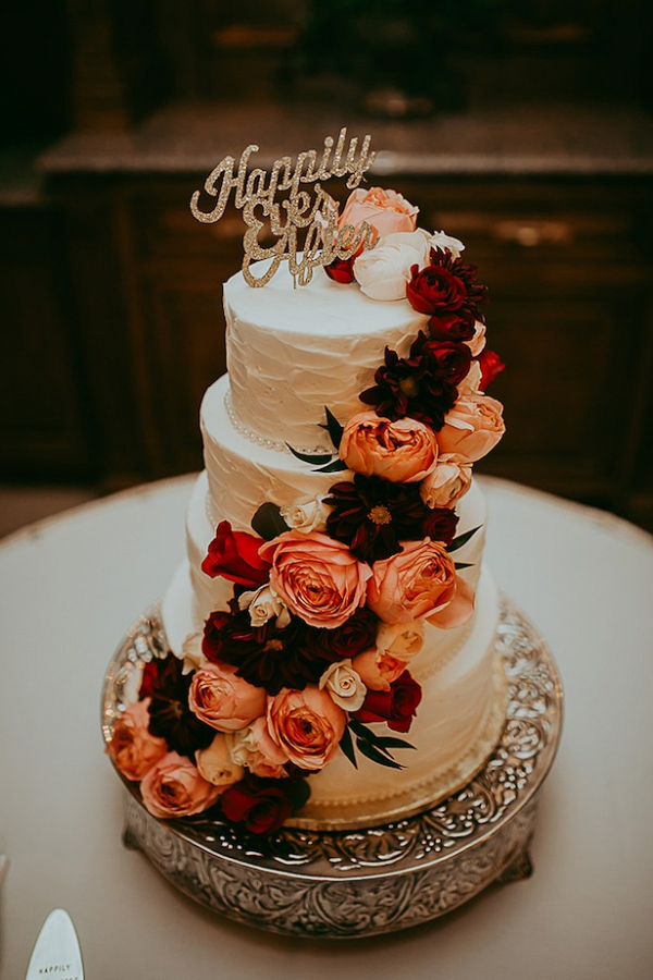 burgundy and gold wedding cake layden photography aisle society 12229