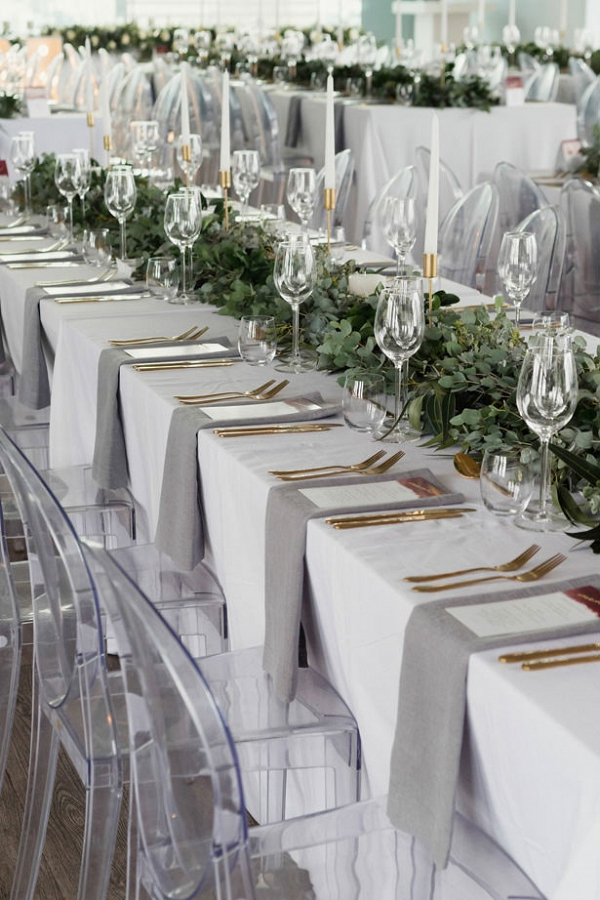 White, gray, and gold wedding reception