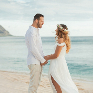 Sunset Hawaii beach wedding
