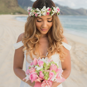 Hawaii bride with floral crown