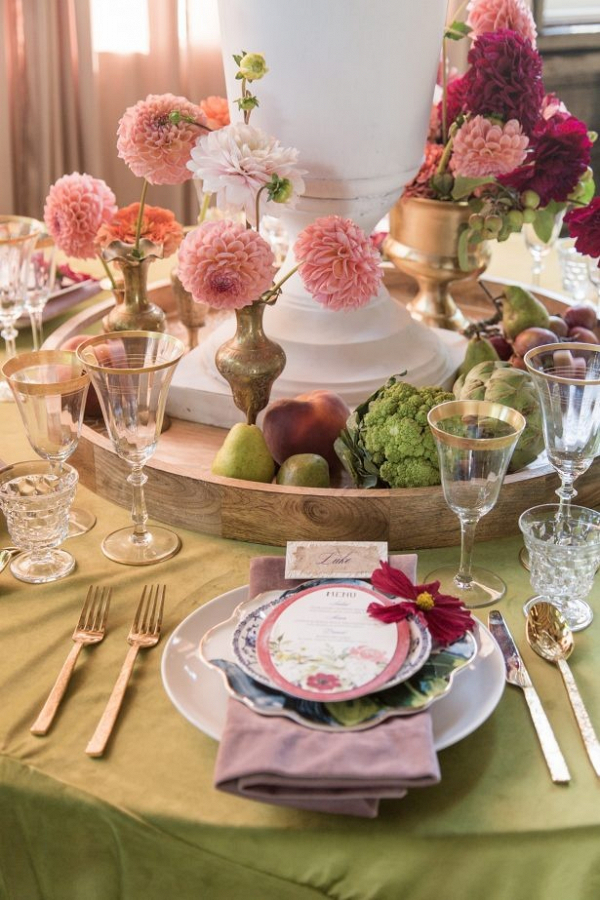 Wedding place setting with floral print menu