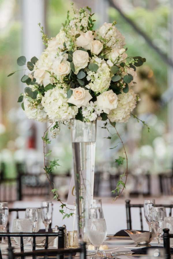 Tall white floral wedding centerpiece